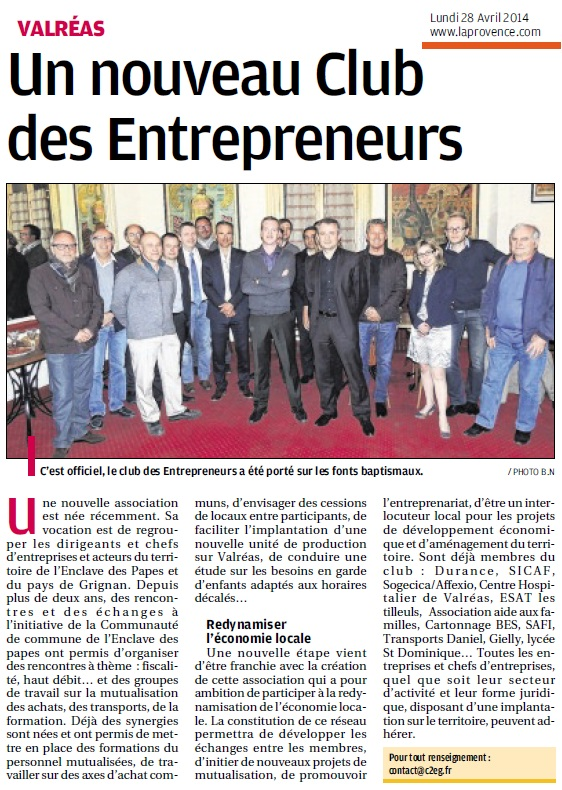 O 28042014 PROVENCE NV CLUB ENTREPRENEURS